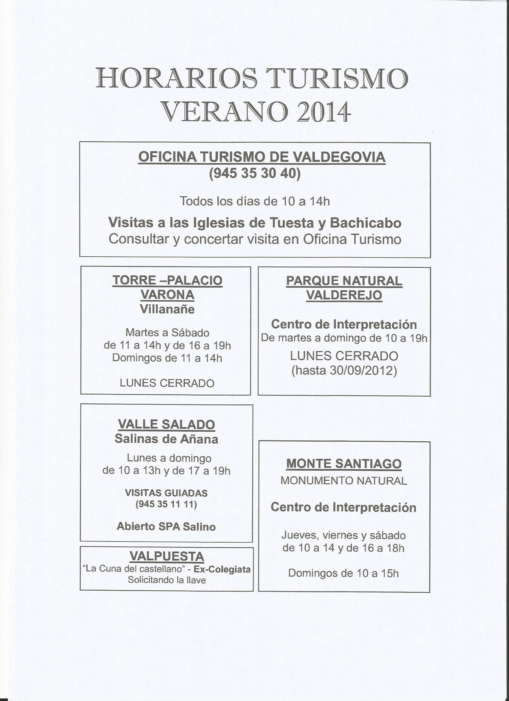 Horarios turismo verano 2014 for Horario oficinas caja rural